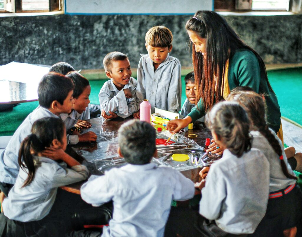 Students with their Teacher Learning