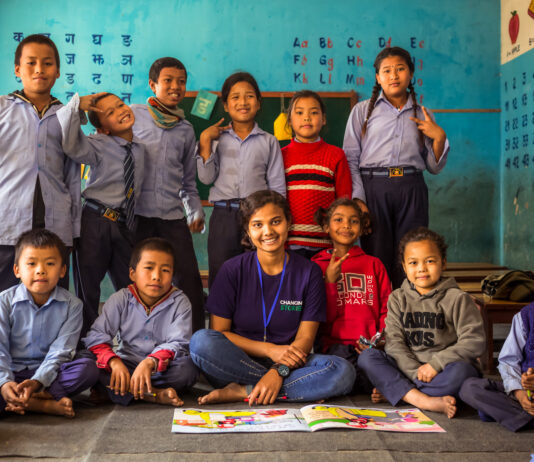 Nepali students learning maths and nepali with teachers