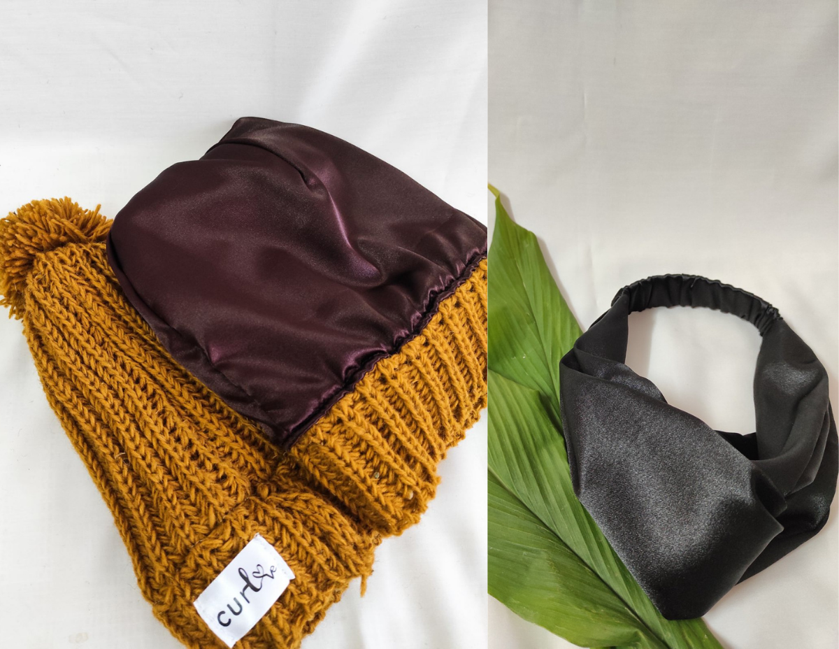 Two most loved products from Curlove, Satin Lined Beanie & Satin Headband