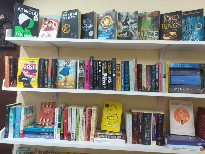 Variety of books at Book Inn, a mini library